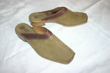 TSONGA Women's Tan Suede and Brown Leather Slip-on Mule Clog Shoe UK 8 US 10