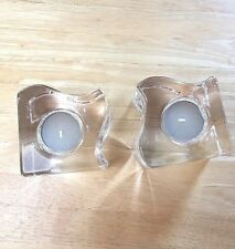 Pre-owned never used, 2 Orrefors Sweden Puzzle votive heavy glass candle holders