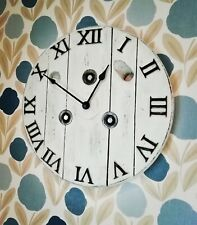 Large Rustic Wooden Wall Clock - Industrial Cable Reel farmhouse shabby chic