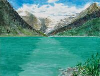 """Lake Louise"" ORIGINAL signed watercolor painting Banff Canada Rocky glacier"