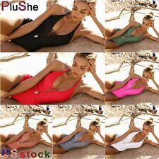 V Neck One Piece Swimsuit Woman Sexy Bathing Suit Lace Up Halter Swimwear Suit
