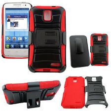 For Alcatel One Touch Pop Mega LTE A995L Kickstand Clip Holster Case Black Red