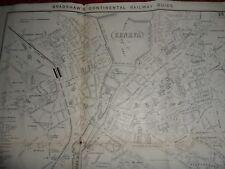 Geneva antique map Bradshaws continental railway guide 1907