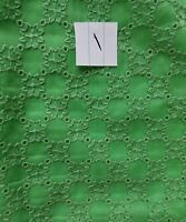 Vintage Green Eyelet Salvage Fabric Floral Remnant Cutter Sewing Doll Fabric A27