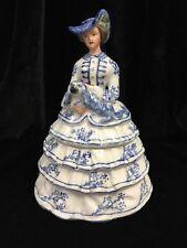 Antique Wm Kirby & Co Staffordshire Ceramic Powder Box Blue Crinoline Lady & Dog
