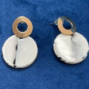 Vintage Retro Earrings Gold Tone Black & White Costume Circle Drops Butterfly