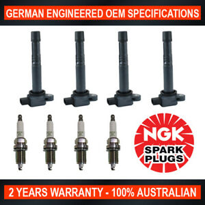 4x NGK Spark Plugs & 4x Swan Ignition Coils for Honda Accord CM6 & CR-V RD7 RE4