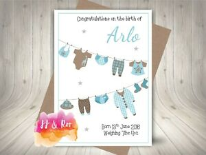 Personalised New Baby Boy Birth Congratulations Card: Cute Baby Clothes Line