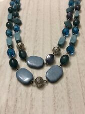 Multilayer Necklace Beaded Blue