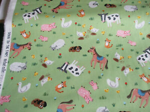 FAT 1/4 MICHAEL MILLER DOWN ON THE FARM CHILDS 100% COTTON QUILTING FABRIC