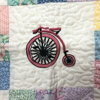 "Lovely Antique High Wheel Bike Quilt Blanket Miniature Small 22"" Pastel Handmade"