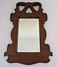 Wooden Wall Mirror Brown with Hearts Home Decor