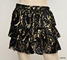 f4055d0fe Alice Olivia Silk Blend Metallic Tiered Ruffle Mini Skirt Black 4