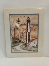 Cape Henry Lighthouse Donna Elias Matted Watercolor Print Virginia Beach Sealed