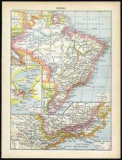 Antique Map-Print-Brasil-Costume- Animals-Orchids-Cacao-Laro usse-1897