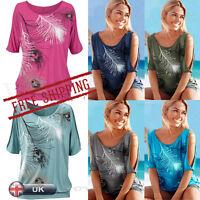 UK Women Summer Loose Casual Sexy Off Shoulder Tee Shirt Tops Blouse Ladies Top