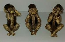 Fez Hat Monkey See Hear Speak No Evil Resin Set Of 3 Figures Moroccan Statues