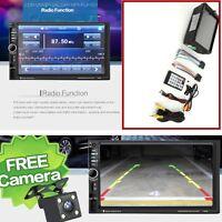 "7"" Car Bluetooth Radio Stereo Head Unit Player MP5 /USB/AUX Free Rear Camera NEW"