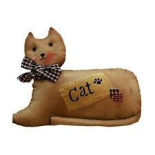 Primitive Tea Stained Lying`Patchwork Cat`Shelf Sitter` Stands Alone` Bead Eyes