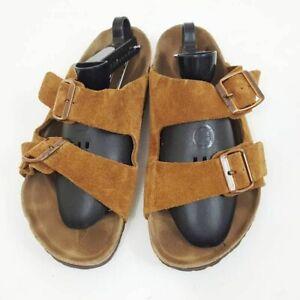 Birkenstock Footbed Slide Sandals Brown Leather Buckle Slip On Potatoe 39 Jesus
