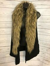 BB Dakota Women's Sleeveless Knit Vest Black Faux Fur Collar Size M Medium