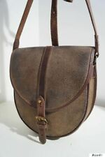 MULBERRY BROWN SCOTCHGRAIN LEATHER TRIM HANDBAG SHOULDER CROSS BODY BAG