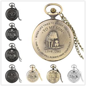 Steampunk Ancient To My Son Boy Kids Quartz Pocket Watch Pendant Chain Gift
