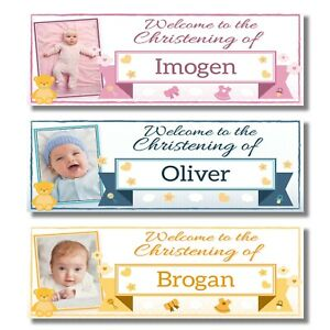 2 PERSONALISED PHOTO CHRISTENING BANNERS - ANY NAME - 3 COLOURS (800x297mm)