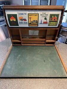 VTG Lewis Myers Industrial Art Desk 1923 Chautauqua Scroll USA Map Chalkboard