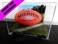 ✺New✺ AFL Football DISPLAY CASE - Aussie Rules Sherrin Sports Memorabilia Lego