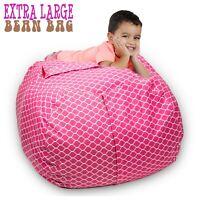 "Stuffed Animal Storage Bean Bag Chair 38"" Extra Large kids toys organizer gift"