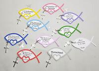 1 x Gastgeschenk Fischkarte mit Kreuzänger und Wunschtext Kommunion,Konfirmation
