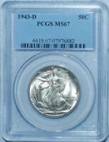 1943 D PCGS MS67 Walking Liberty Half Dollar