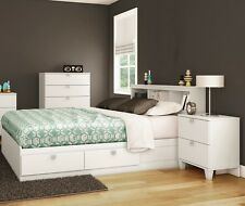 4 Piece White Full Size 4 Storage Drawers Platform Bed Set Bookcase Headboard