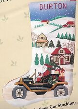 "Candamar ""Santa's Antique Car"" Town Christmas Cross Stitch Stocking Kit 50304"