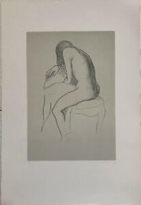 Ugo Capocchini litografia Nudo di schiena 1977 65x46 firmata numerata pubblicata