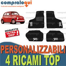 TAPPETI tappetini per FIAT 500 EPOCA (57-75) in MOQUETTE + 4 DECORI TOP RICAMATI