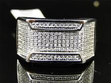 Mens White Gold Finish Diamond Engagement Wedding Fashion Band Pinky Ring .45 Ct