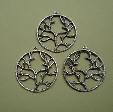 3pcs-Pendant Tree Of Life Branch Leaf Alloy Antique Silver Tibetan Silver.