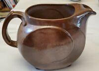 Vintage FRANKOMA Pottery Brown 4D 2 QT Jug Pitcher LAZY BONE Ice Guard