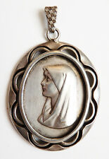 Pendentif ancien médaille Sainte Vierge Marie silver pendant