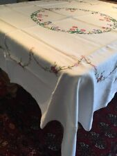 "VINTAGE 100% LINEN SKILLFULLY EMBROIDERED TABLECLOTH 50"" SQUARE"