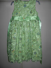 Rare Editions Green Spring Girls Wedding Dress with Embroidered Flowers Size 5
