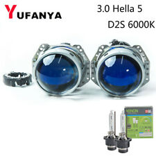 3.0'' Bi xenon HID Projector Lens Blue Coating Hella 5 Xenon D2S 6000K Bulb Kit