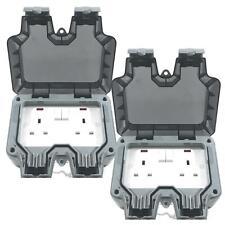 Illucio 2 Gang 13 Amp Weatherproof Outdoor Switched Plug Socket (2 Pack)