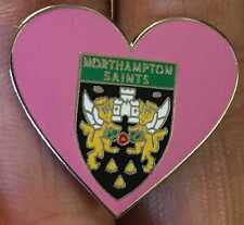 NORTHAMPTON SAINTS RUGBY UNION PINK HEART ENAMEL PIN BADGE