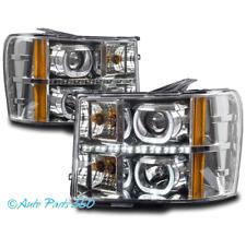 FOR 07-13 GMC SIERRA 1500 2500 3500 U-HALO LED CHROME PROJECTOR HEADLIGHTS LAMPS