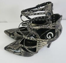 Guess new ankle strap high heels beige blk faux skin point toes zip back sz 7.5