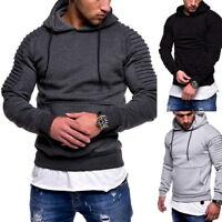 Men Hooded Hoodie Pleated Long Sleeve Plain Sweatshirt Pocket Streetwear