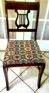 Antique Vintage HARP Lyre Duncan Pfyfe Style Mahogany Wood Dining/ Accent Chair